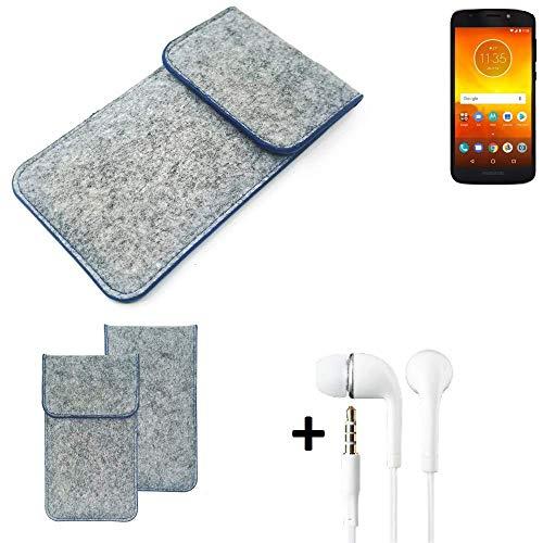 K-S-Trade Filz Schutz Hülle Für Motorola Moto E5 Dual SIM Schutzhülle Filztasche Pouch Tasche Handyhülle Filzhülle Hellgrau, Blauer Rand + Kopfhörer