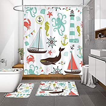 MitoVilla Kids Nautical Shower Curtain Set for Summer Ocean Bathroom Decor Anchor Octopus Lighthouse Sail Boat Whale Star Fish Sea Shells Coastal Bathroom Curtain Set for Child Boys and Girls