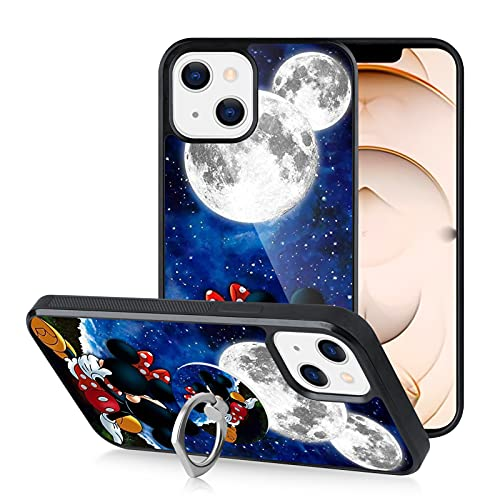 FLYTech Compatible with iPhone 13 Case Mickey Minnie with Ring Holder Shockproof Anti-Collision Cover Case for iPhone 13 6.1 Inch
