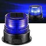 Lumiere Solaire Gyrophare-LED-Stroboscopique-Magnetique-Impermeable Bleu Sans Fil Feu 12v Bleue Rechargeable Clignotant pour Camion Voiture de Police