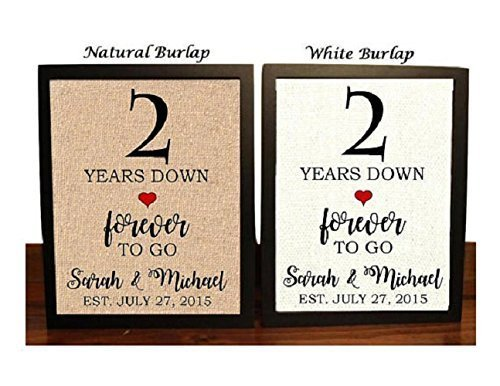 Amazon Com 2nd Anniversary Burlap Gift 2nd Wedding Anniversary Gift Gift For 2nd Anniversary 2 Years Down Forever To Go 2 Years Of Marriage Handmade