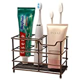 Dseap Toothbrush Holder, Electric Toothbrush Holder - Antibacterial Stainless Steel Tooth Brush Holder, Toothpaste Holder Organizer Stand Caddy for Bathroom, Red Antique Copper