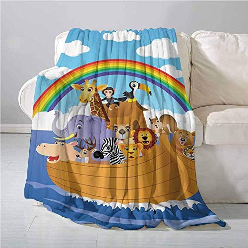 Elma Banju Noahs Ark Decor Collection Home Throw Blanket Cartoon Group of Animals In Noahs Ark Childish Cheering Design Artwork All Season Blanket Blue Peru Yellow 60x80IN