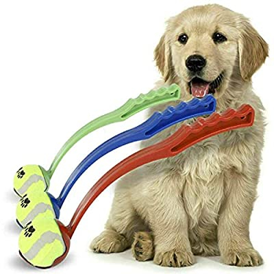 Dog Ball Thrower Launcher - Easy Throw Long Range Portable Puppy Toys, Exercise Dog Toys - Includes Tennis Ball, Outdoor Activity Play (Random Colors)