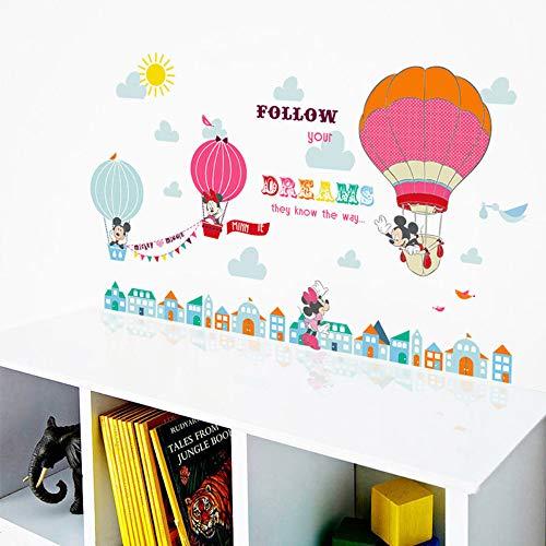 Cartoon Mickey Minnie Mouse Ballon Home Decals Muurstickers voor Kids Kamer Baby Slaapkamer Muur Kwekerij Amusement Park Poster