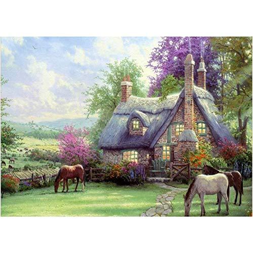 OVBBESS Kit de pintura de diamante completo para manualidades, para decoración de pared, manualidades, adultos y niños, cabaña de caballos