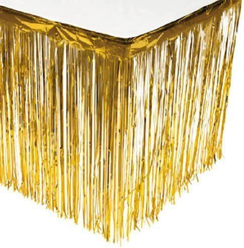 Puzine 2pack Metallic 5 popular Foil Fringe Skirt Gorgeous Tinsel Tal Plastic Table