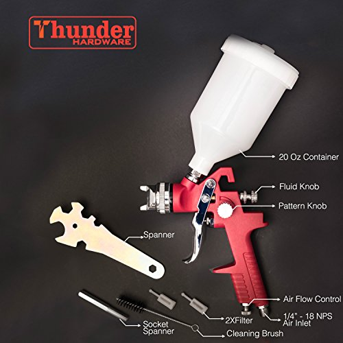 Thunder Hardware High Volume Low Pressure Gravity Feed Spray Gun, 20 oz