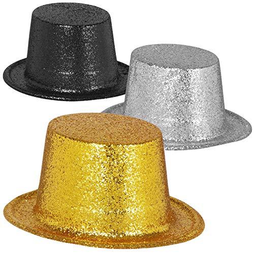 COM-FOUR® 3x Oud & Nieuw feestmuts - hoge hoed met glitter voor oudejaarsavond - hoofddeksel voor oudejaarsavond, carnaval, Mardi Gras, themafeest (Set05 - cilinder)