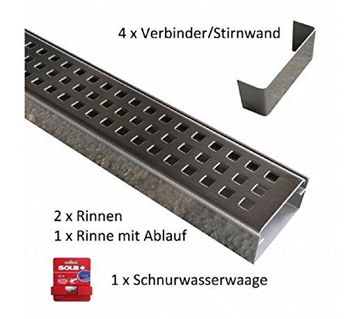 Set 3 x Entwässerungsrinne Edelstahl 1 Meter Superflach V2A stream 2 Rinnen, 1 Rinne mit Ablauf, 4 Verbinder, 1 Schnurwasserwaage