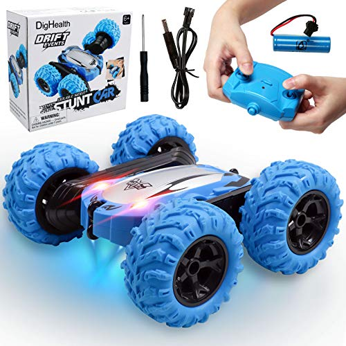 DigHealth Coche Teledirigido, Rotación Volteo de 360°, 4WD RC Coche Acrobacia con Batería Recargable, 2.4 GHz Juguete Coche RC Regalo para Niños 6-12 años, Azul