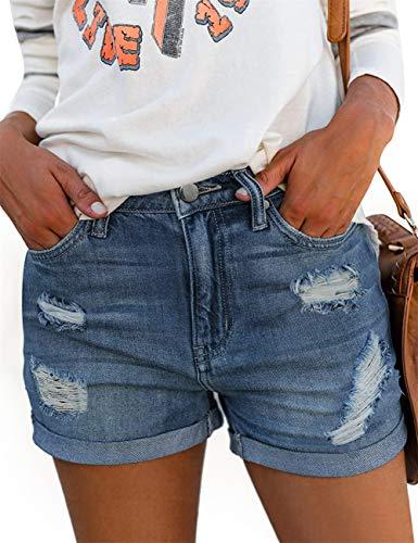MODARANI男朋友心疼的牛仔短裤中起牛仔短裤为女人撕裂的弹性短XL