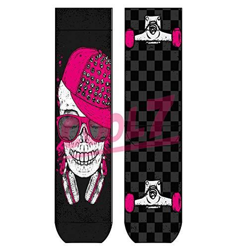 Lady Socks 'Pink Skull' OneSize Bio Baumwolle comic Design bunt funny totenkopf cool, Farben alle:Pink Skull, Größe:One Size