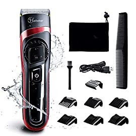 - 51HmKppr57L - HATTEKER Hair Clippers for Men Cordless Hair Trimmer Professional Men's Beard Trimmer Waterproof Hair Cutting Kit with Fine Adjustment Wet/Dry