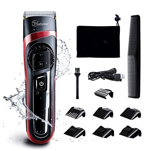 - 51HmKppr57L - HATTEKER Hair Clippers for Men Cordless Hair Trimmer Professional Men's Beard Trimmer Waterproof Hair Cutting Kit with Fine Adjustment Wet/Dry
