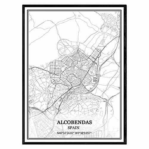 Alcobendas España Mapa de pared arte lienzo impresión cartel obra de arte sin marco moderno mapa en blanco y negro recuerdo regalo decoración del hogar