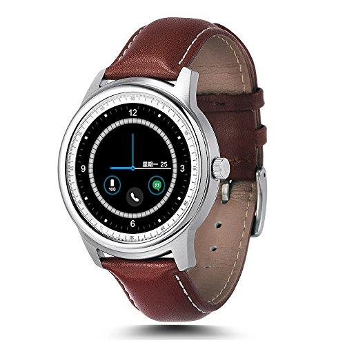 lemfo LEM1–Smartwatch–Bluetooth, Waterproof, Sport, iOS/Android–Farbe Braun/Silber