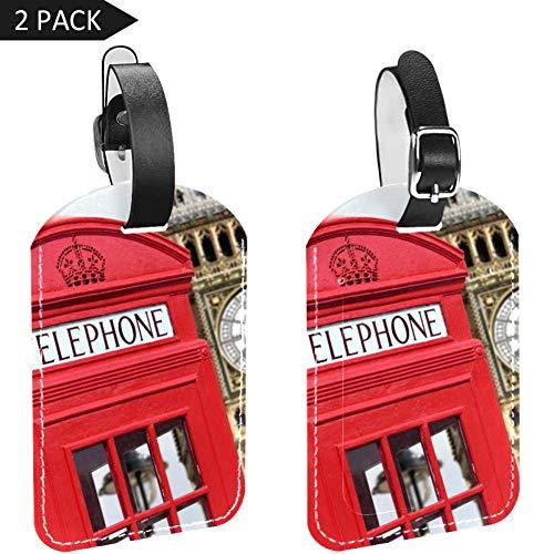 LORVIES Rode Telefoon Doos met Grote Ben Bagage Tags Reizen Labels Tag Naam Kaarthouder voor Bagage Koffer Tas Rugzakken, 2 PCS