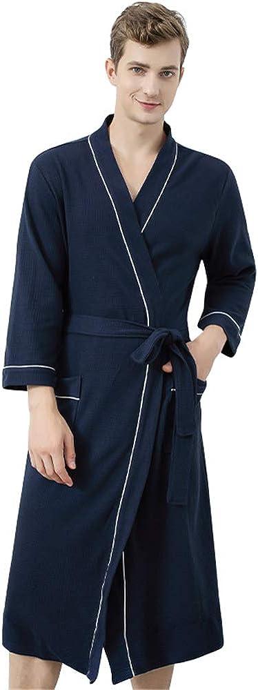 Dizadec Premium Turkish Cotton Waffle Weave Lightweight Kimono Spa Bathrobe for Women Men