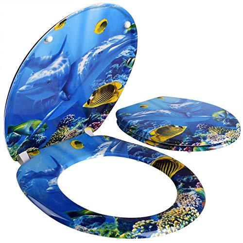 Deuba Toilettendeckel doppelte Absenkautomatik mit ABS-Schaniere inkl. Montagematerial Toilettensitz Deckel Duroplast Delphin