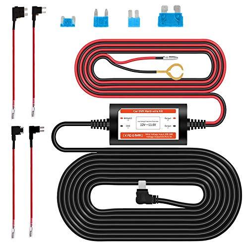 AZDOME Mini USB 12V-24V bis 5V Dashcam Hardwire Kit mit ACU/ ACN/ ACZ/ ACS Fügen Sie einen Sicherungshalter, Niederspannungsschutz für GS63H/ M550/ M01PRO/ M01 Autokamera(JYX01)