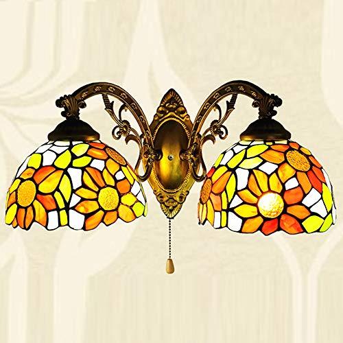 Aplique de Pared de dormitorio estilo Tiffany Apliques Pared Interior salón pasillo balcón en forma de rosa pantalla vidriocolor marco hierro no inteligente portalámparas E27 Ø20cm,Gold 2