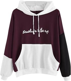 4de91021c87ba Sweatshirt Femme Imprimé, LMMVP Femmes Letters Manche Longue Sweat à Capuche  Pullover Sweat-shirt