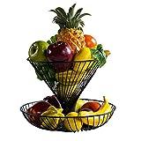 Placa de la fruta creativa de dos capas cesta de frutas secas de gran capacidad de soporte del cuenco de fruta de estar Espacio de almacenamiento en rack decoración del hogar 8.6x11.8x9.8 pulgadas (Co
