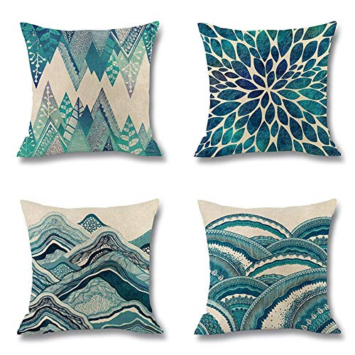 Set van 4, Ocean Wave Digital Kussenhoes, Marine Style linnen Pillow Case Home Fabric Sofa Middellandse Kussensloop 45 * 45cm