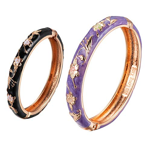 UJOY Parent-Child Bracelet Enamel Bangle for Mother and Daughter Jewellery Set, Handmade Jewellery Gift - Purple & Black