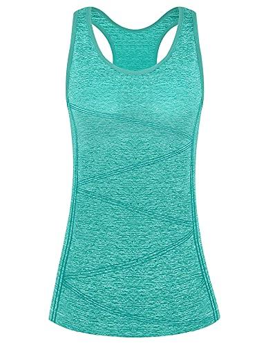 Yoga Camiseta, Camiseta Deportiva para Mujer, Mujer Sin Mangas Tank Top, Camiseta Mujer Deporte Sin Mangas para Yoga Fitness y Deportes(Verde, L)