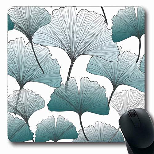 Mousepads längliche Form blau grün abstrakt Gingko Biloba Farben Muster Ginko Natur schwarz Botanik Zeichnung Flora Frühling rutschfeste Gaming Mauspad Gummi längliche Matte
