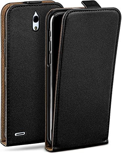 moex Flip Hülle für Huawei Ascend G610 - Hülle klappbar, 360 Grad Klapphülle aus Vegan Leder, Handytasche mit vertikaler Klappe, magnetisch - Schwarz