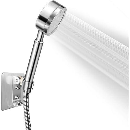 elevador de presi/ón cromado MINGJING Alcachofa de ducha con manguera de acero inoxidable ahorro de agua universal