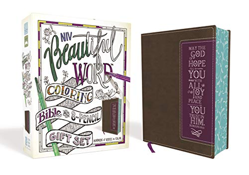 NIV, Beautiful Word Coloring Bible and 8-Pencil Gift Set, Leathersoft, Brown/Purple: Hundreds of Verses to Color