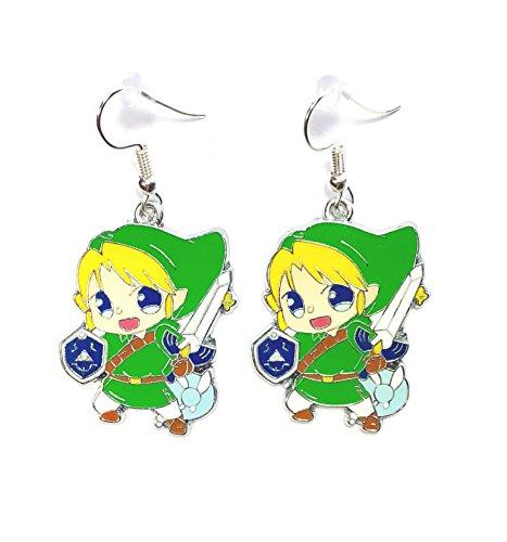 The Legend of Zelda inspired LINK NAVI fairy Metal Charm Character Dangle Hook Earrings With Gift Box