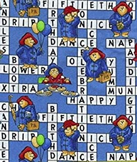 1/2 Yard - Paddington Bear on Crossword Puzzle Cotton Fabric - Officially Licensed (Great for Quilting, Sewing, Craft Projects, Throw Pillows, Curtains, Valances & More) 1/2 Yard X 44
