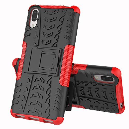 MRSTER Sony Xperia L3 Coque - Etui Housse Robuste Protection de Double Couche d'Armure Lourde Antichoc Housse avec Béquille pour Sony Xperia L3. Hyun Red