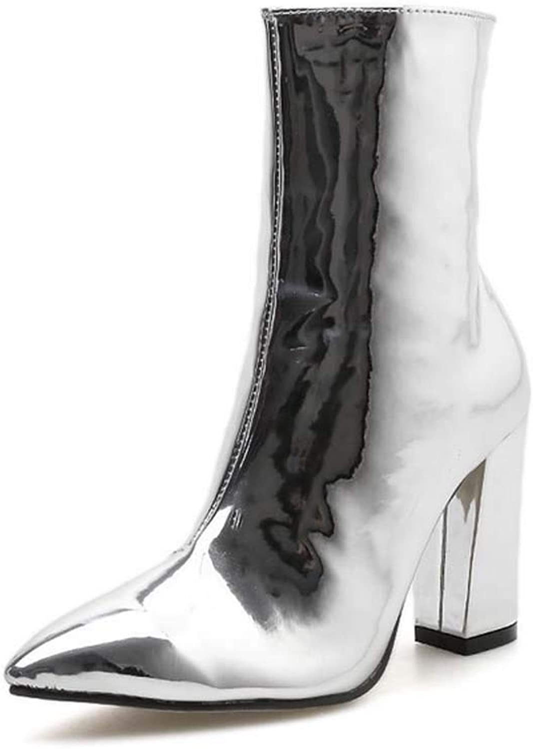 Women Pointed High Heel Boots 2018 Autumn Winter New Patent Leather Glossy Face Ankle Boots