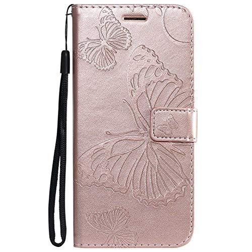DENDICO - Carcasa para Huawei P30 Lite/Nova 4E, piel sintética, diseño de mariposa, magnética, cartera de poliuretano termoplástico, funda para Huawei P30 Lite/Nova 4E – Oro rosa