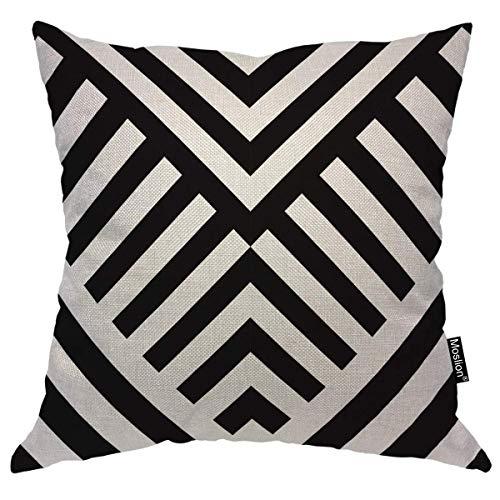Striped Throw Pillow Case Black White Diagonal Line Wavy Stripes Zigzag Chevron Pillow Cover Decorative Square Cushion Accent Cotton for Sofa Chair,45x45CM