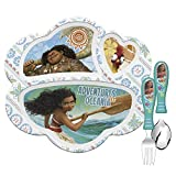 Zak Designs Disney Movie Moana Kids Dinnerware Set Includes Melamine 3-Section Divided Plate and Utensil Tableware, Made of Durable Material and Perfect for Kids (Moana, 3 Piece Set, BPA-Free)