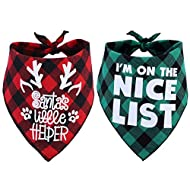 JPB 2 Pack Dog Christmas Bandanas for Puppy Cat,Plaid Christmas Scarf for Dogs
