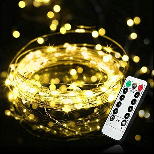 LED Fairy String Lights with Remote Control - 100 LED 33ft/10m Micro Silver Wire Battery-Operated String Lights for Garden Home Party Easter Valentine Wedding Christmas Decoration (Warm White)