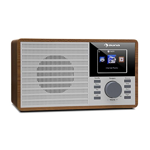 "auna IR-160 - Internetradio, Radiowecker, Digitalradio, WLAN, MP3/WMA-fähiger USB-Port, AUX, Wecker, Musikstreaming via UPnP, 2.8"" TFT-Farbdisplay, Fernbedienung, App-Steuerung, braun"