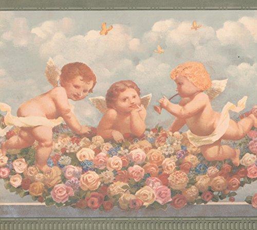 Cherub Babies in Heaven Pink Red Yellow Roses Faith Religious Wallpaper Border Retro Design, Roll 15' x 9''
