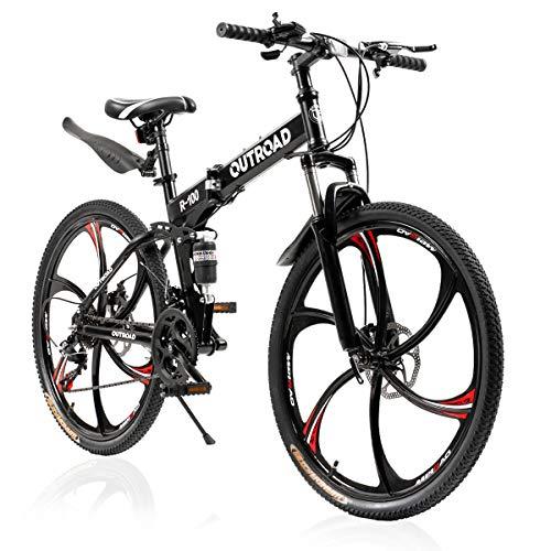 PanAme Mountain Bike Folding Bikes 21 Speed Shimano Shifter Double Disc Brake, Full Suspension 6-Spoke 26 Inches High Carbon Steel Frame Anti-Slip Bicycle for Man/Woman/Teen, Black