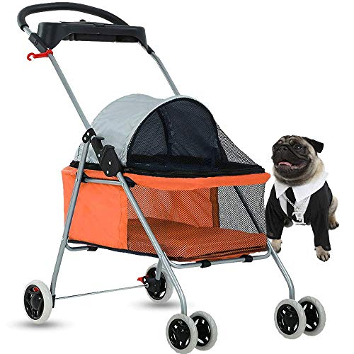 4 Wheels Pet Stroller Cat Dog Cage Stroller Protable Travel Folding Carrier Cart Waterproof Buggy Doggie Dog Stroller Jogger with Cup Holders for Small-Medium Dog, Cat - Orange