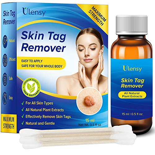 Ulensy Skin Tag Remover - Extra Strength Skin tag Removal Liquid - Made of Natural Plant Extracts - Fast-Acting Formula Safe for Removing Skin Tag- Zero-Pain, No Scars - Simple and Easy to Apply, 15ml