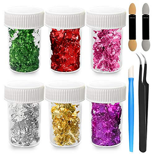 6 botellas de escamas de lámina de oro para manualidades y artes, uñas, dorado, pintura, arte de resina, dorado, pintura, muebles para manualidades